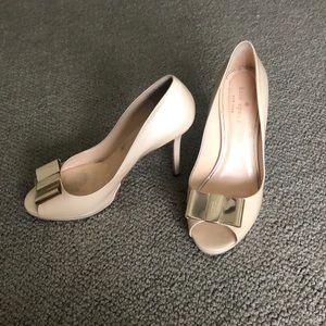 Kate Spade Peep-Toe, Gold Bow Heels, Size 7